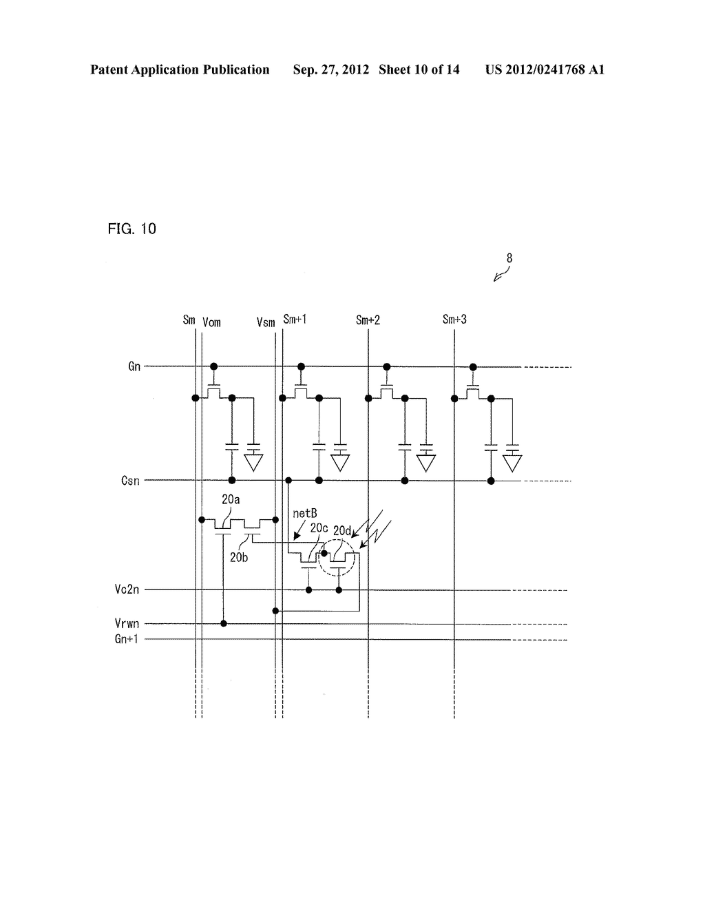 OPTICAL SENSOR CIRCUIT, DISPLAY PANEL, DISPLAY DEVICE, AND METHOD FOR     DRIVING AN OPTICAL SENSOR CIRCUIT - diagram, schematic, and image 11