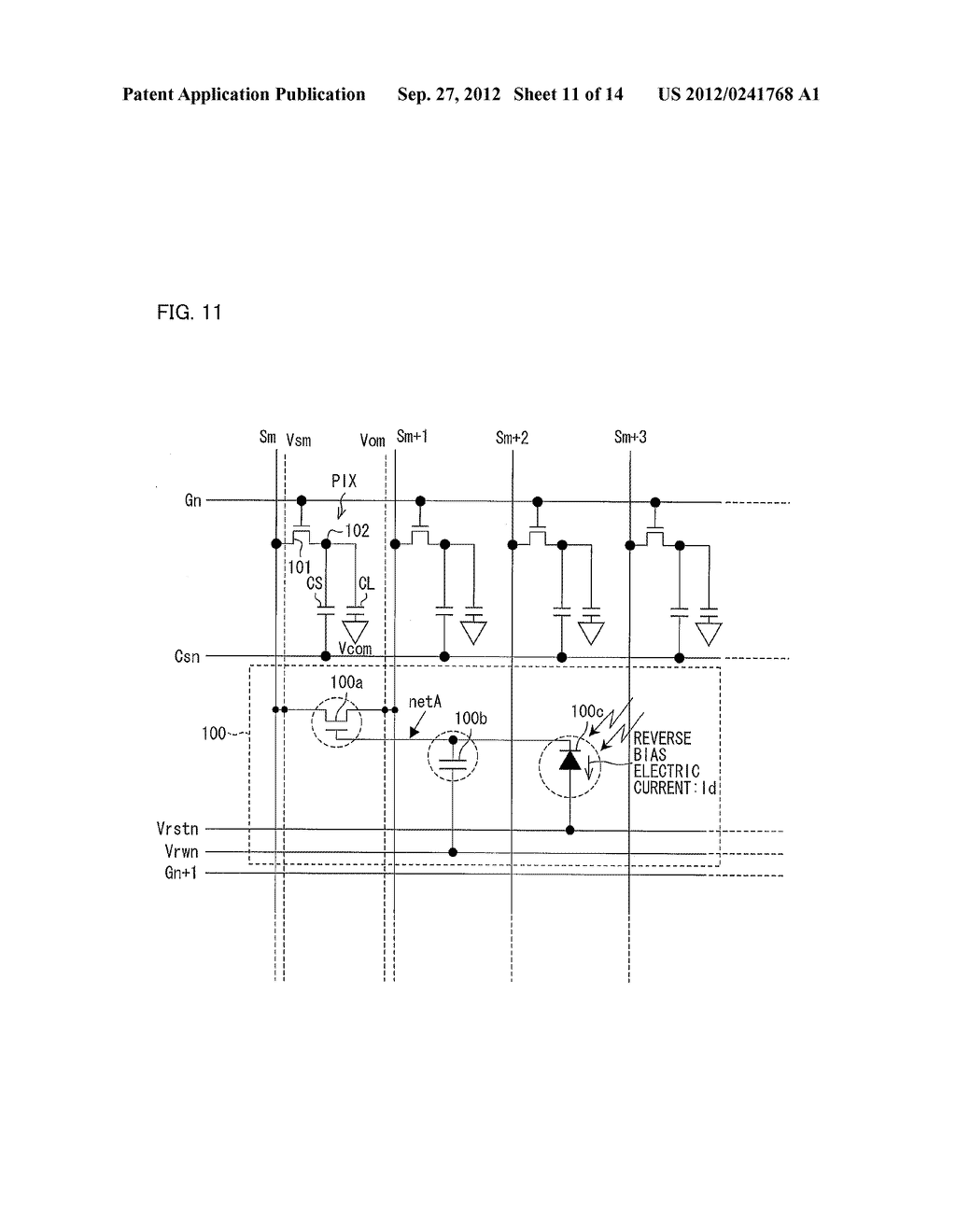 OPTICAL SENSOR CIRCUIT, DISPLAY PANEL, DISPLAY DEVICE, AND METHOD FOR     DRIVING AN OPTICAL SENSOR CIRCUIT - diagram, schematic, and image 12
