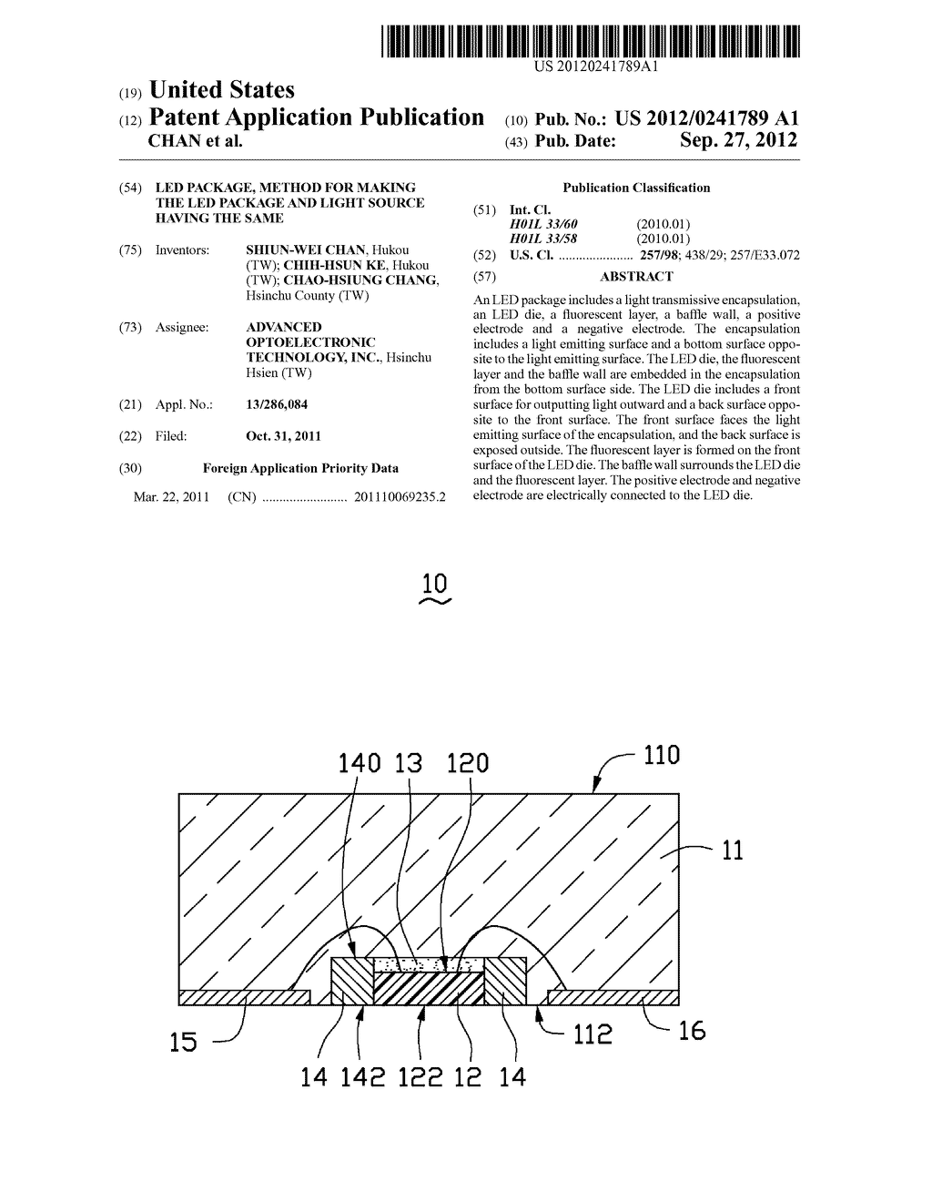 LED PACKAGE, METHOD FOR MAKING THE LED PACKAGE AND LIGHT SOURCE HAVING THE     SAME - diagram, schematic, and image 01