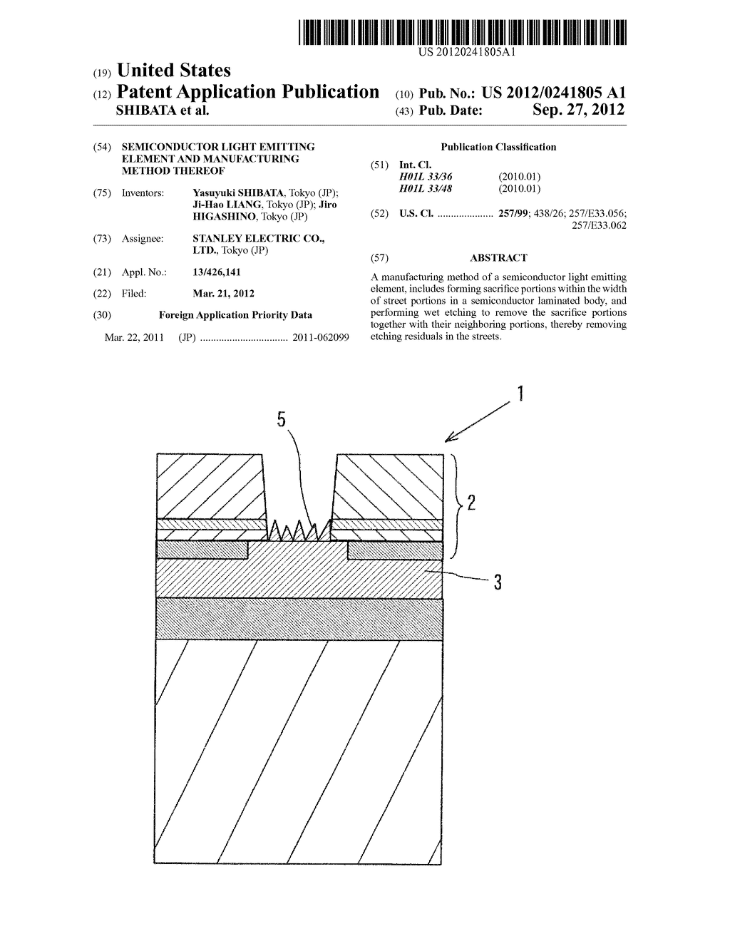 SEMICONDUCTOR LIGHT EMITTING ELEMENT AND MANUFACTURING METHOD THEREOF - diagram, schematic, and image 01