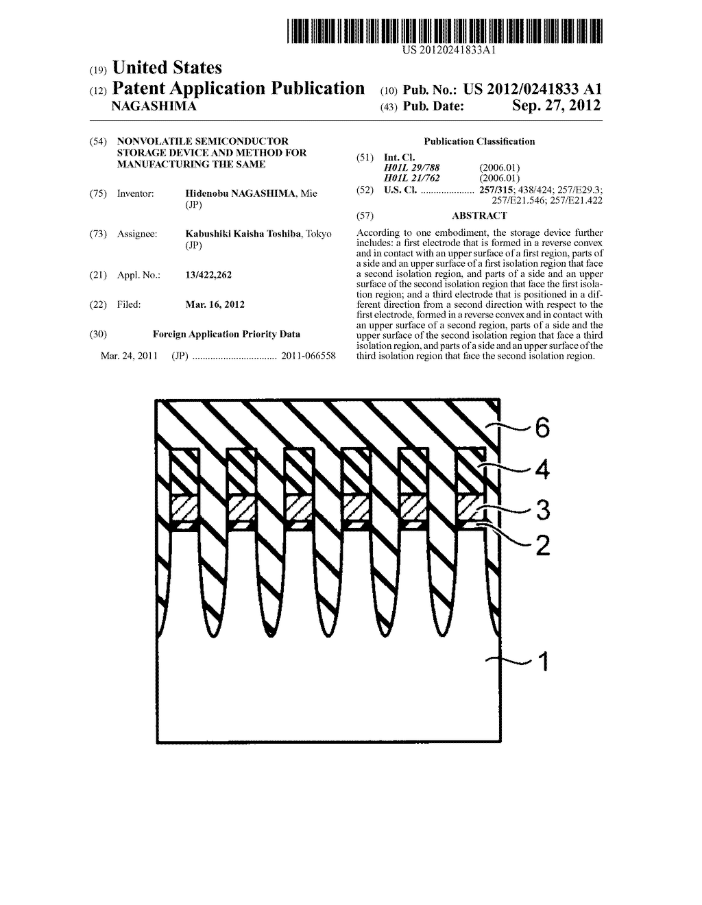 NONVOLATILE SEMICONDUCTOR STORAGE DEVICE AND METHOD FOR MANUFACTURING THE     SAME - diagram, schematic, and image 01