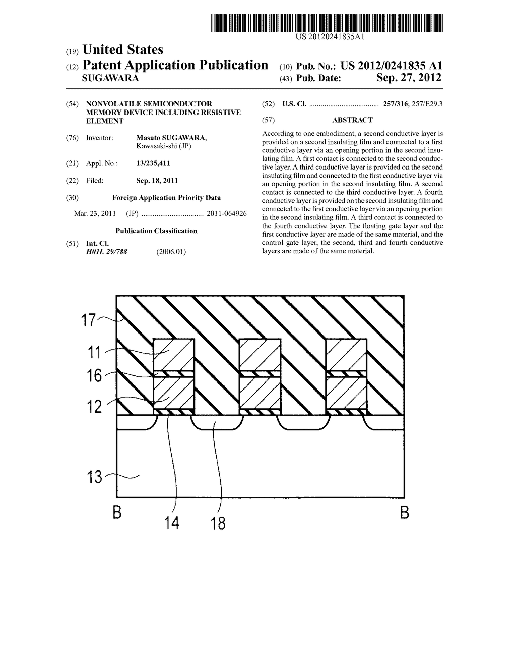 NONVOLATILE SEMICONDUCTOR MEMORY DEVICE INCLUDING RESISTIVE ELEMENT - diagram, schematic, and image 01