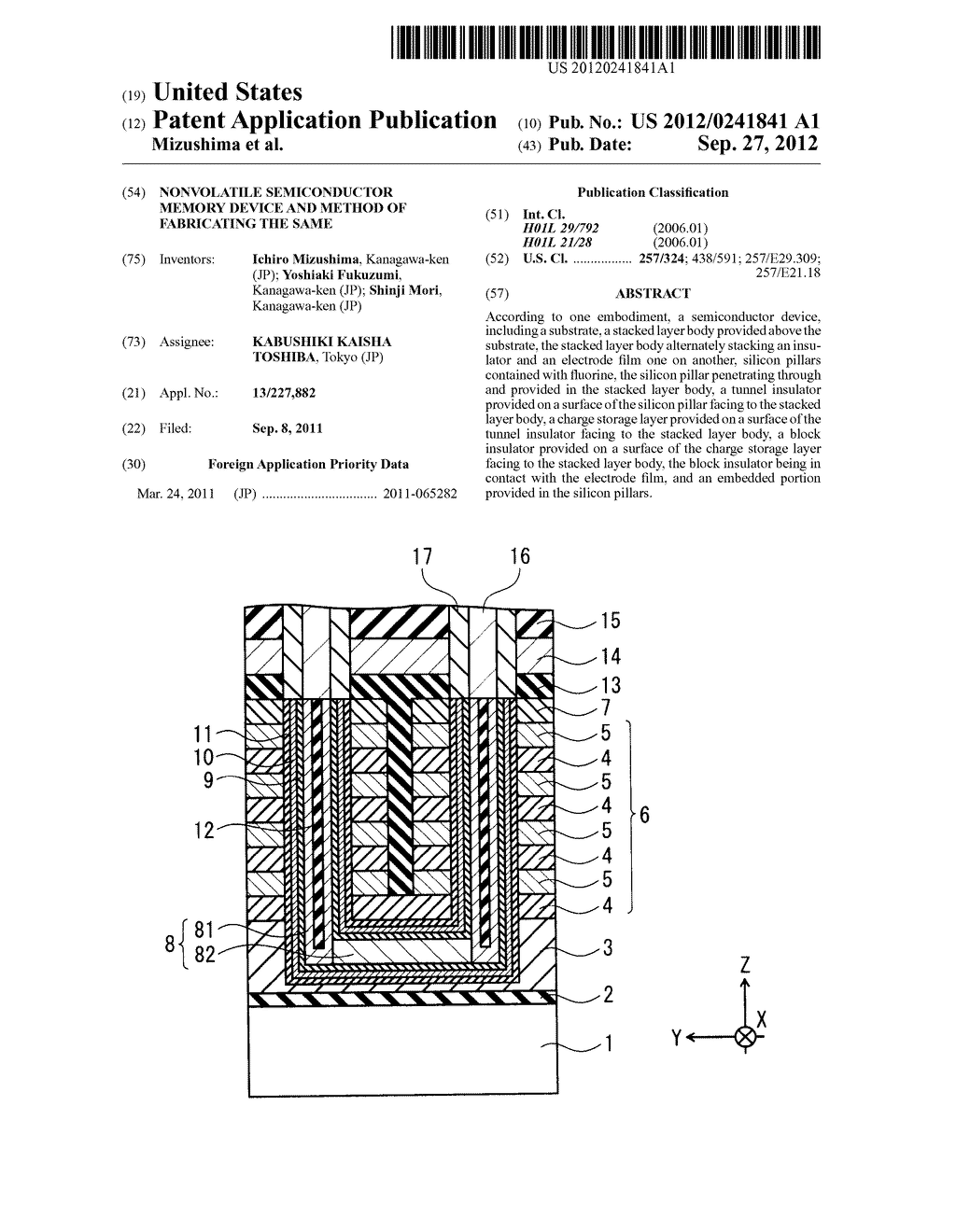 NONVOLATILE SEMICONDUCTOR MEMORY DEVICE AND METHOD OF FABRICATING THE SAME - diagram, schematic, and image 01