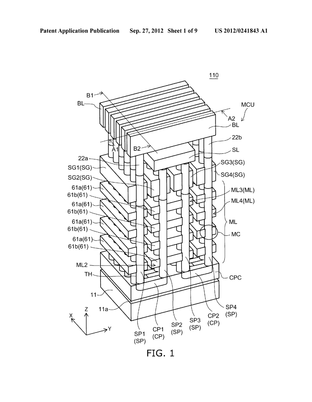 NONVOLATILE SEMICONDUCTOR MEMORY DEVICE AND METHOD FOR MANUFACTURING SAME - diagram, schematic, and image 02