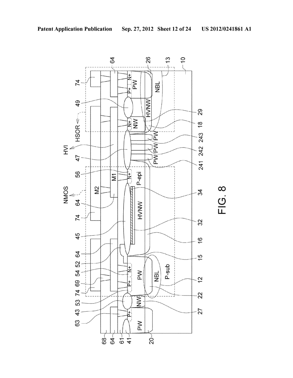 Ultra-High Voltage N-Type-Metal-Oxide-Semiconductor (UHV NMOS) Device and     Methods of Manufacturing the same - diagram, schematic, and image 13