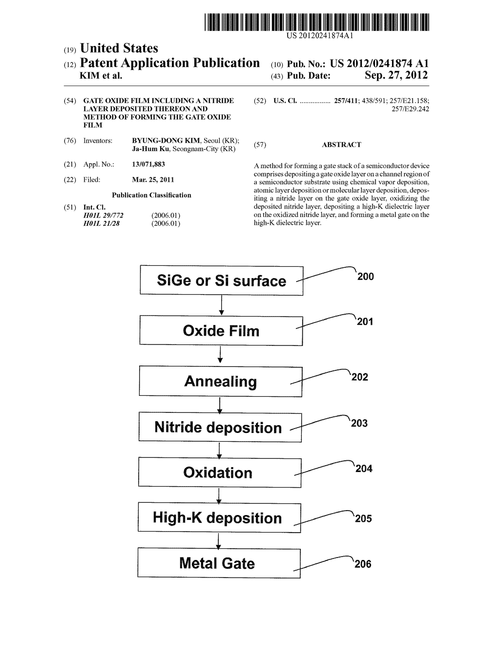 GATE OXIDE FILM INCLUDING A NITRIDE LAYER DEPOSITED THEREON AND METHOD OF     FORMING THE GATE OXIDE FILM - diagram, schematic, and image 01