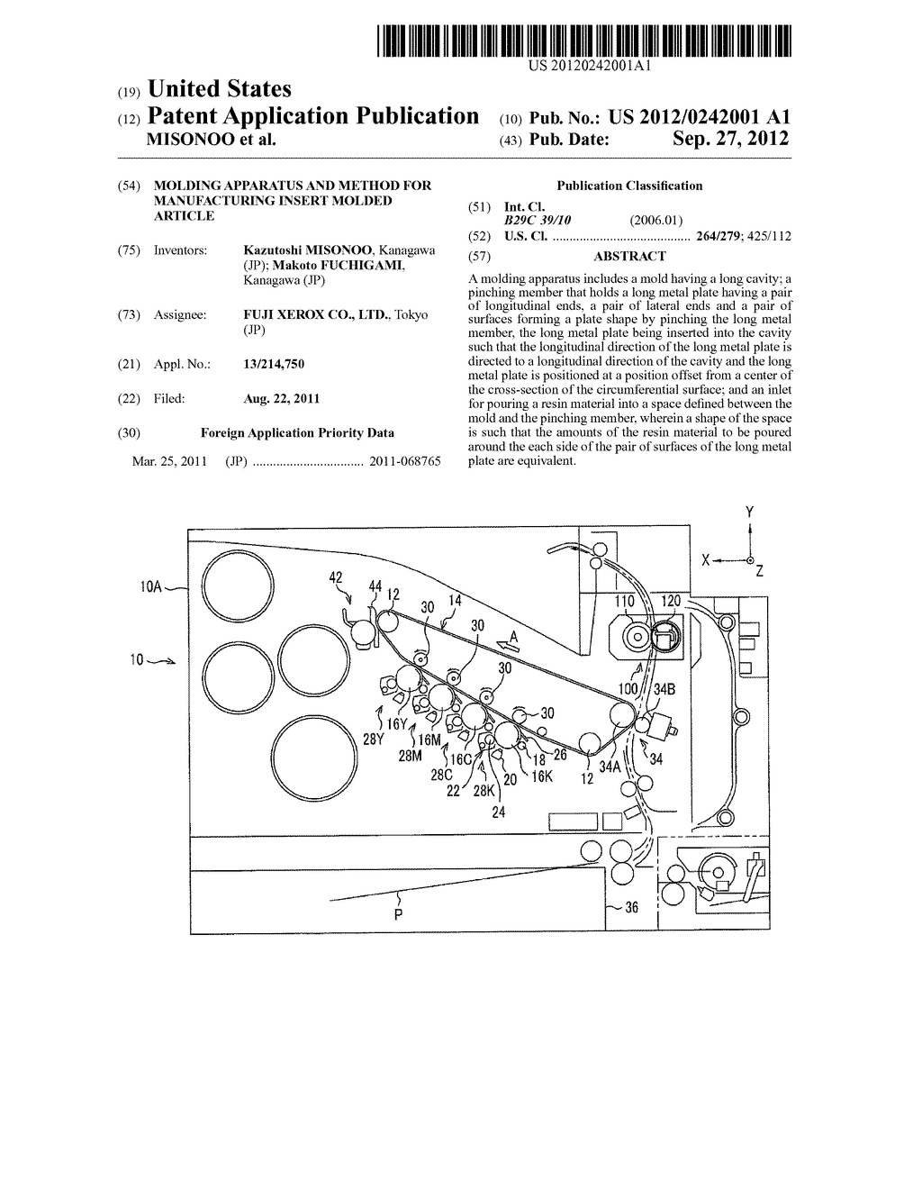 MOLDING APPARATUS AND METHOD FOR MANUFACTURING INSERT MOLDED ARTICLE - diagram, schematic, and image 01