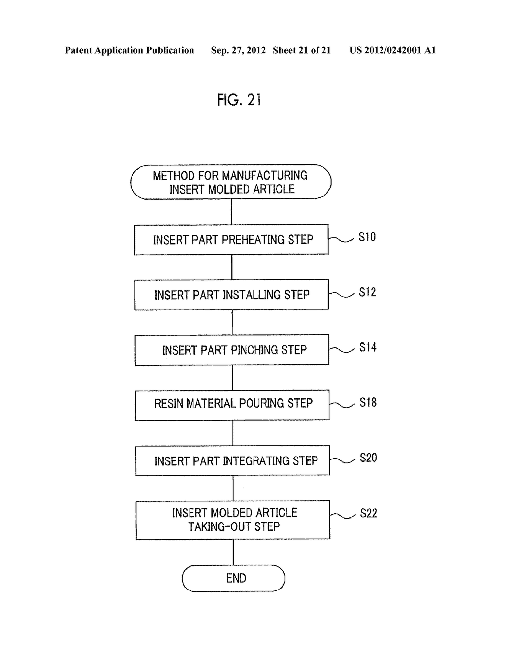 MOLDING APPARATUS AND METHOD FOR MANUFACTURING INSERT MOLDED ARTICLE - diagram, schematic, and image 22