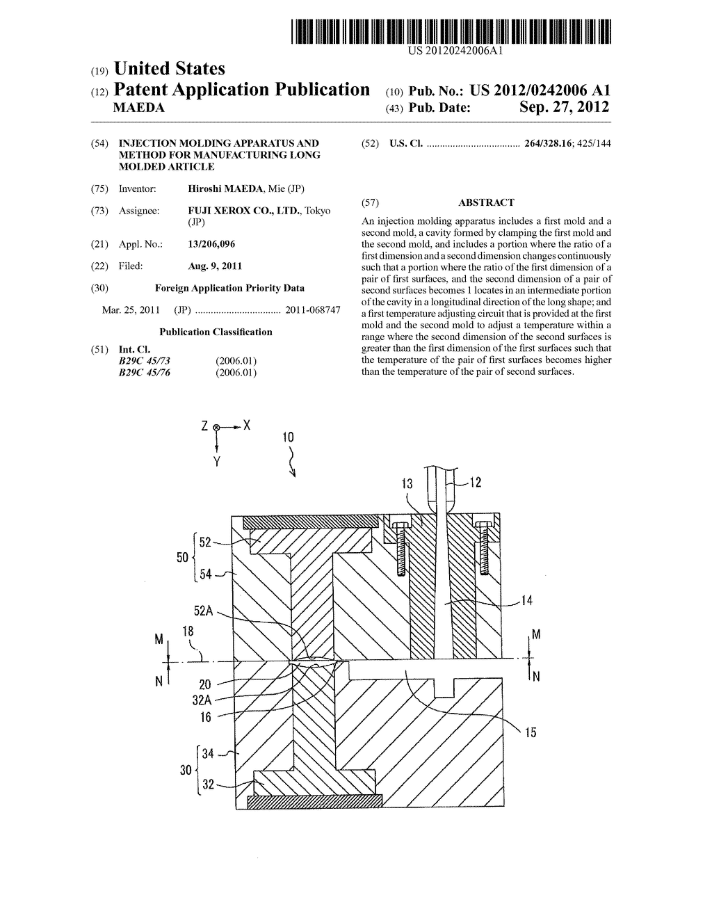 INJECTION MOLDING APPARATUS AND METHOD FOR MANUFACTURING LONG MOLDED     ARTICLE - diagram, schematic, and image 01