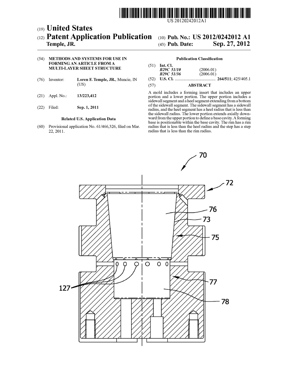 METHODS AND SYSTEMS FOR USE IN FORMING AN ARTICLE FROM A MULTI-LAYER SHEET     STRUCTURE - diagram, schematic, and image 01