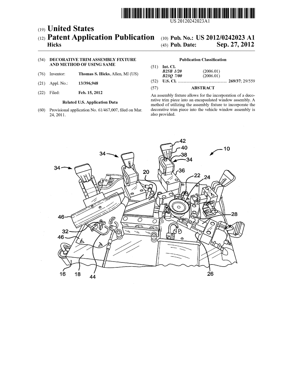 DECORATIVE TRIM ASSEMBLY FIXTURE AND METHOD OF USING SAME - diagram, schematic, and image 01
