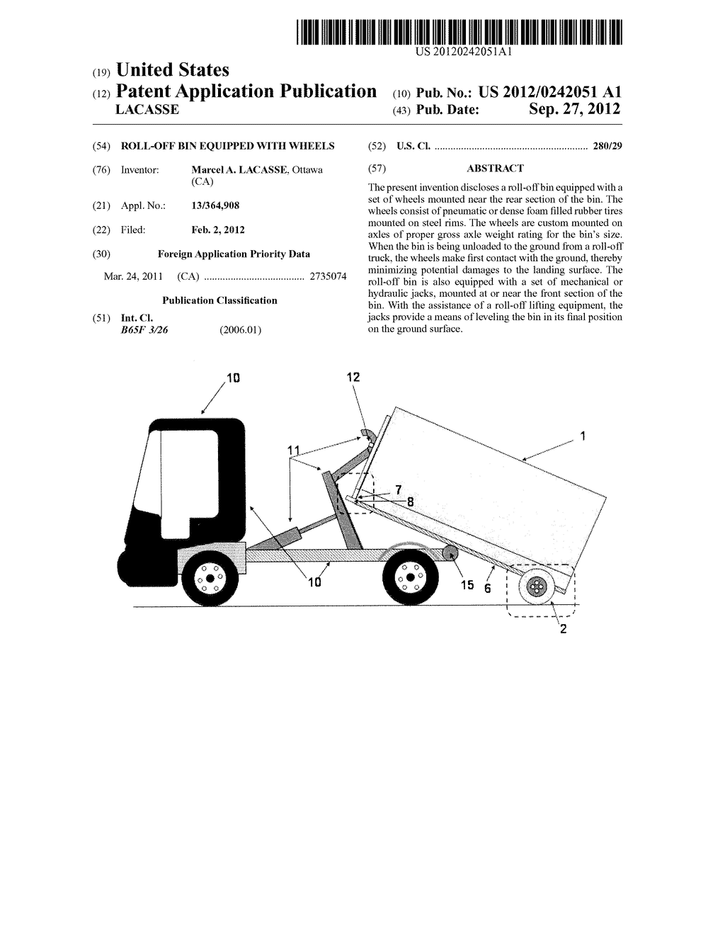 ROLL-OFF BIN EQUIPPED WITH WHEELS - diagram, schematic, and image 01