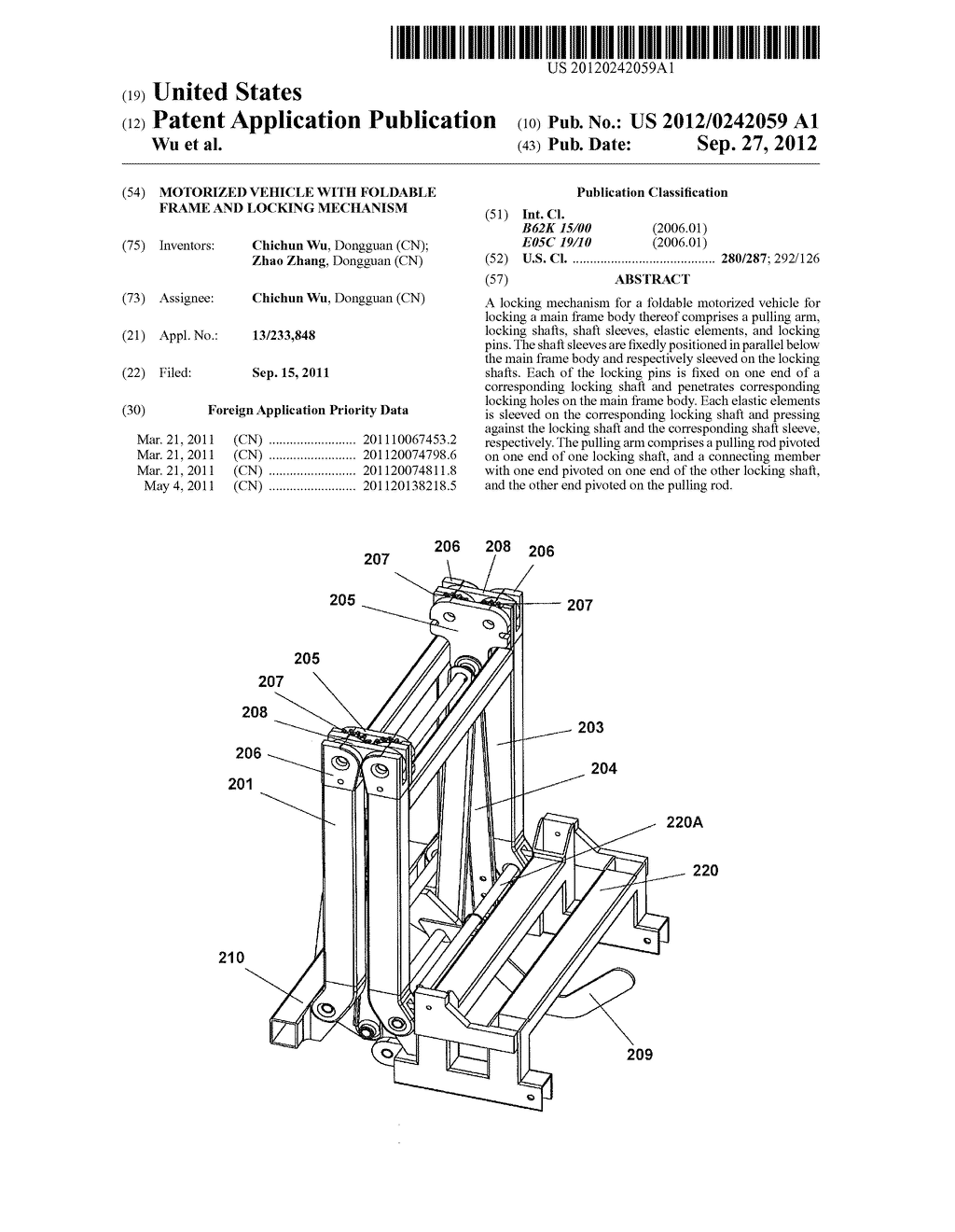 MOTORIZED VEHICLE WITH FOLDABLE FRAME AND LOCKING MECHANISM - diagram, schematic, and image 01