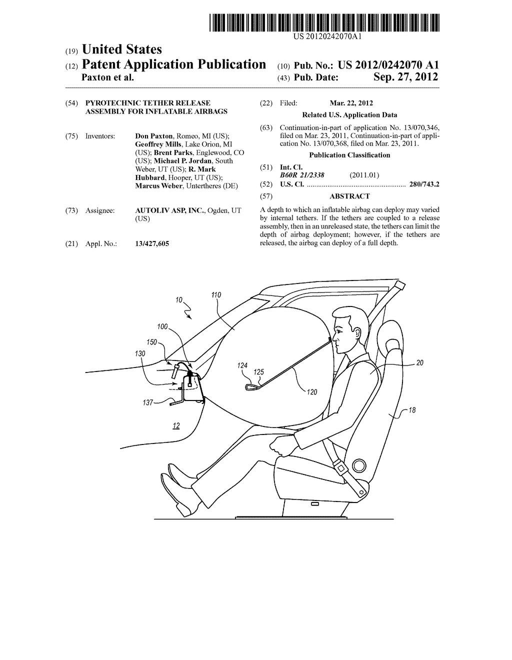 PYROTECHNIC TETHER RELEASE ASSEMBLY FOR INFLATABLE AIRBAGS - diagram, schematic, and image 01