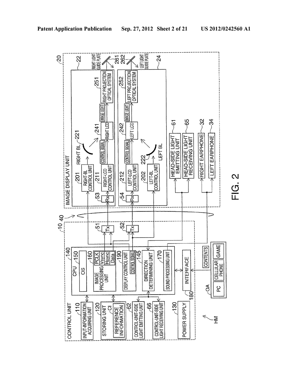 HEAD-MOUNTED DISPLAY DEVICE AND CONTROL METHOD FOR THE HEAD-MOUNTED     DISPLAY DEVICE - diagram, schematic, and image 03