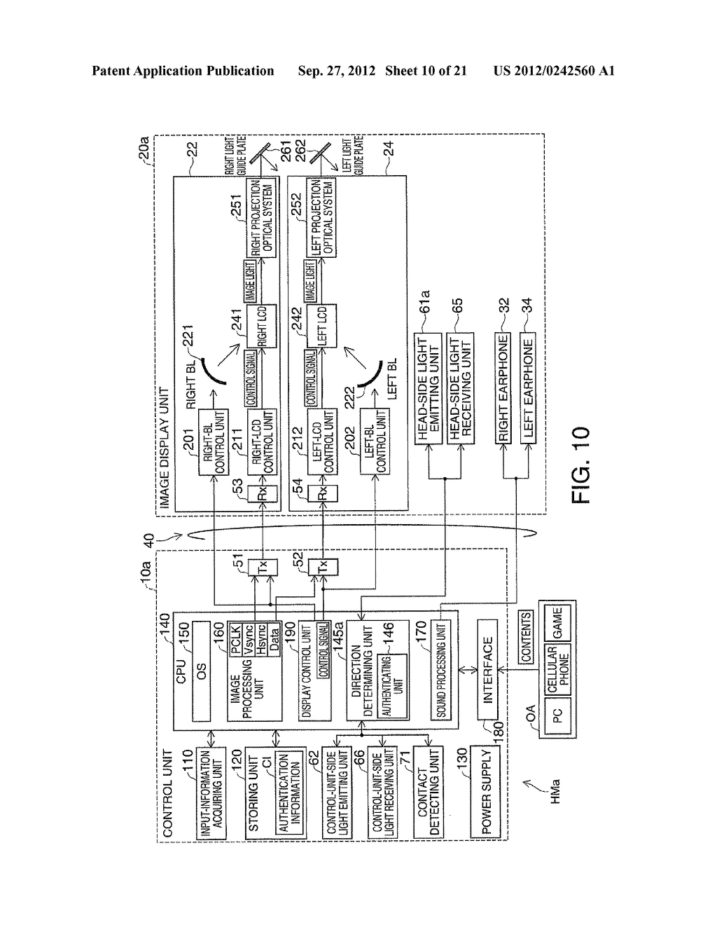 HEAD-MOUNTED DISPLAY DEVICE AND CONTROL METHOD FOR THE HEAD-MOUNTED     DISPLAY DEVICE - diagram, schematic, and image 11