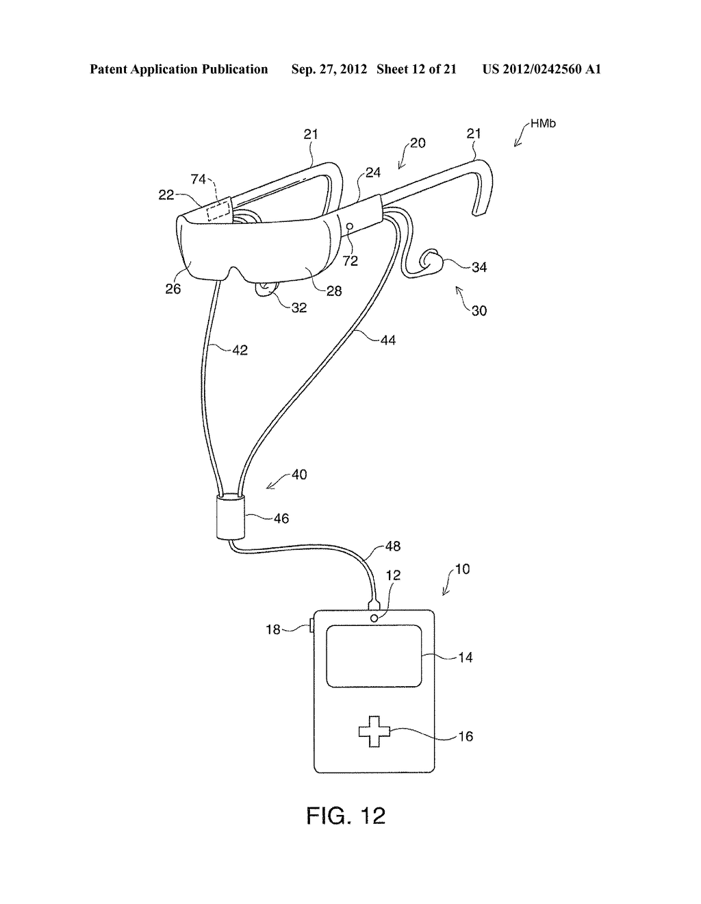 HEAD-MOUNTED DISPLAY DEVICE AND CONTROL METHOD FOR THE HEAD-MOUNTED     DISPLAY DEVICE - diagram, schematic, and image 13