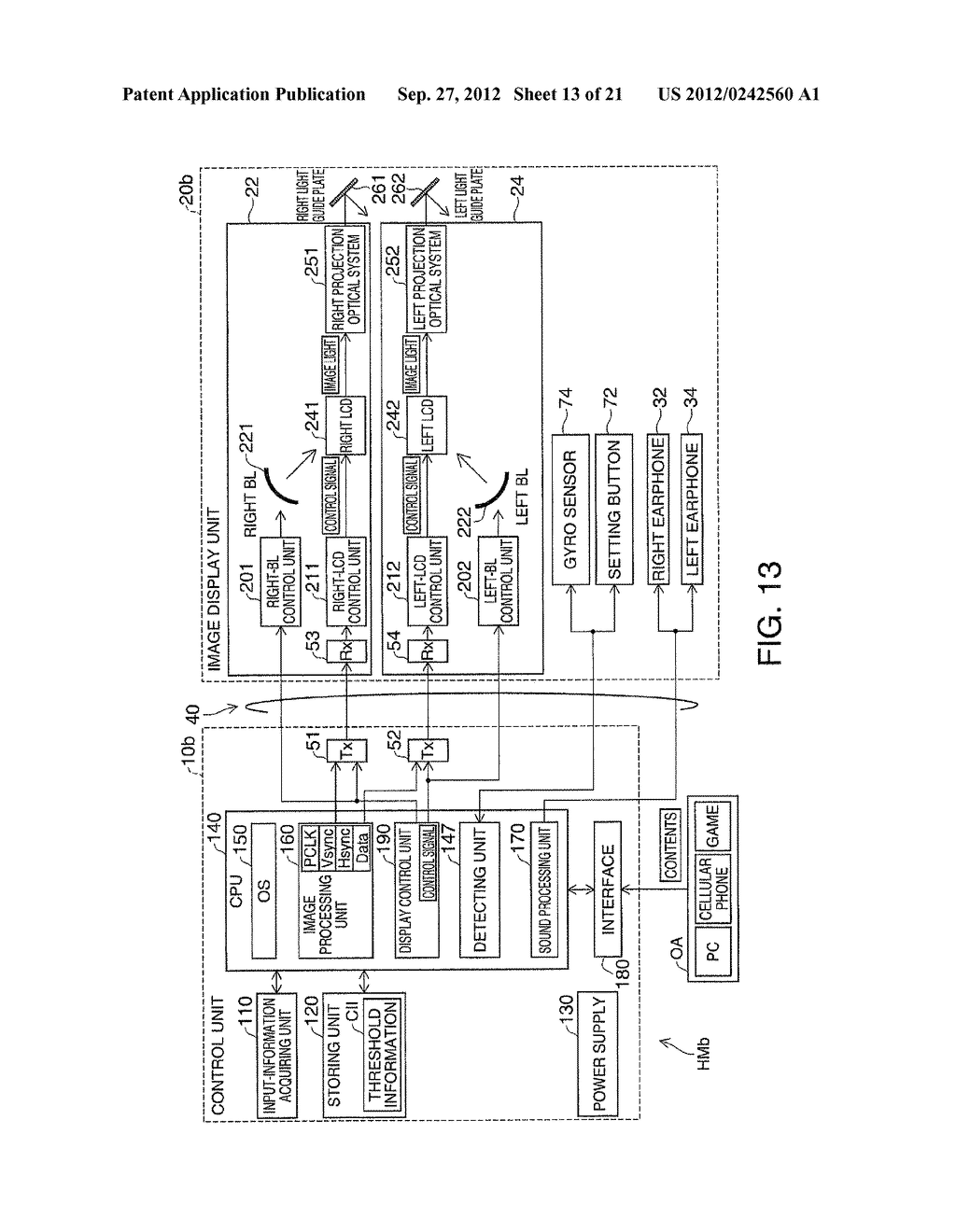 HEAD-MOUNTED DISPLAY DEVICE AND CONTROL METHOD FOR THE HEAD-MOUNTED     DISPLAY DEVICE - diagram, schematic, and image 14