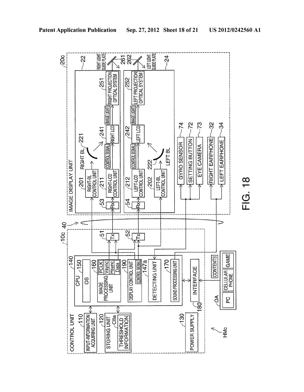 HEAD-MOUNTED DISPLAY DEVICE AND CONTROL METHOD FOR THE HEAD-MOUNTED     DISPLAY DEVICE - diagram, schematic, and image 19