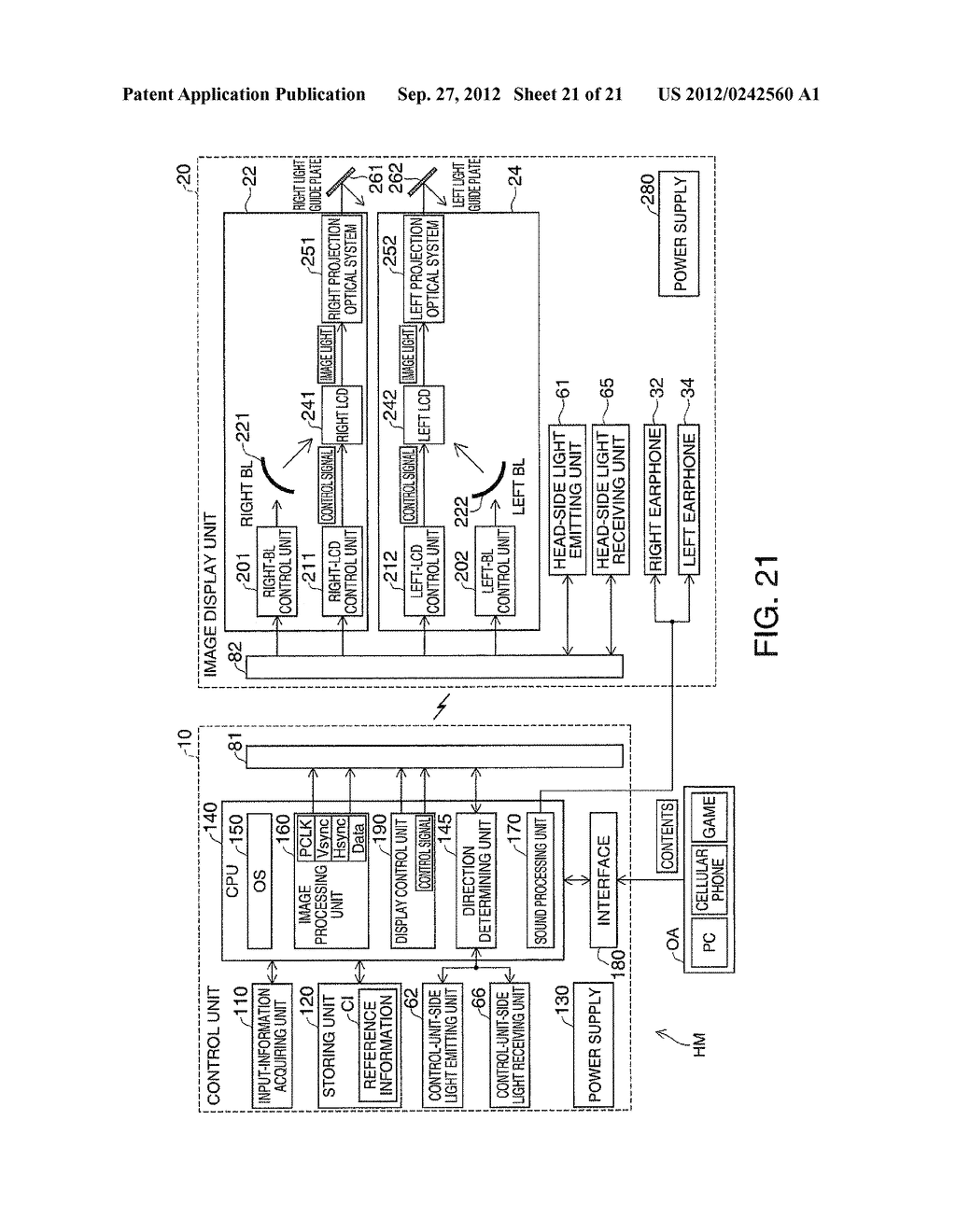 HEAD-MOUNTED DISPLAY DEVICE AND CONTROL METHOD FOR THE HEAD-MOUNTED     DISPLAY DEVICE - diagram, schematic, and image 22