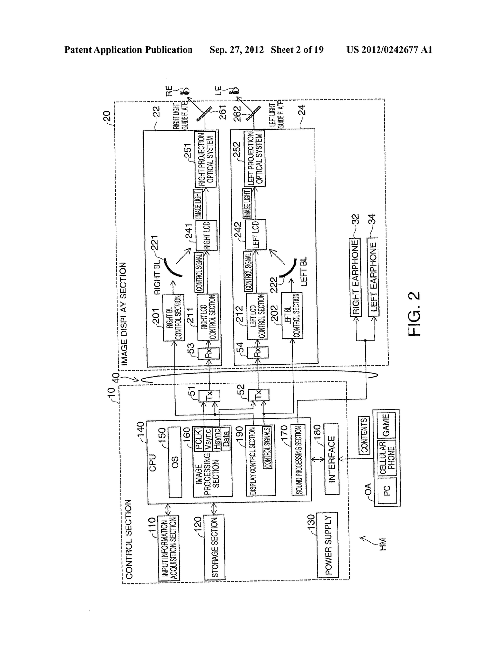 HEAD-MOUNT TYPE DISPLAY DEVICE AND METHOD OF CONTROLLING HEAD-MOUNT TYPE     DISPLAY DEVICE - diagram, schematic, and image 03