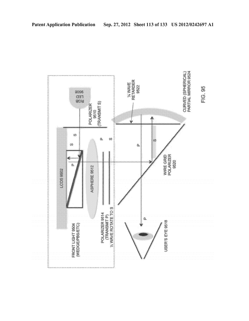 SEE-THROUGH NEAR-EYE DISPLAY GLASSES WITH THE OPTICAL ASSEMBLY INCLUDING     ABSORPTIVE POLARIZERS OR ANTI-REFLECTIVE COATINGS TO REDUCE STRAY LIGHT - diagram, schematic, and image 114