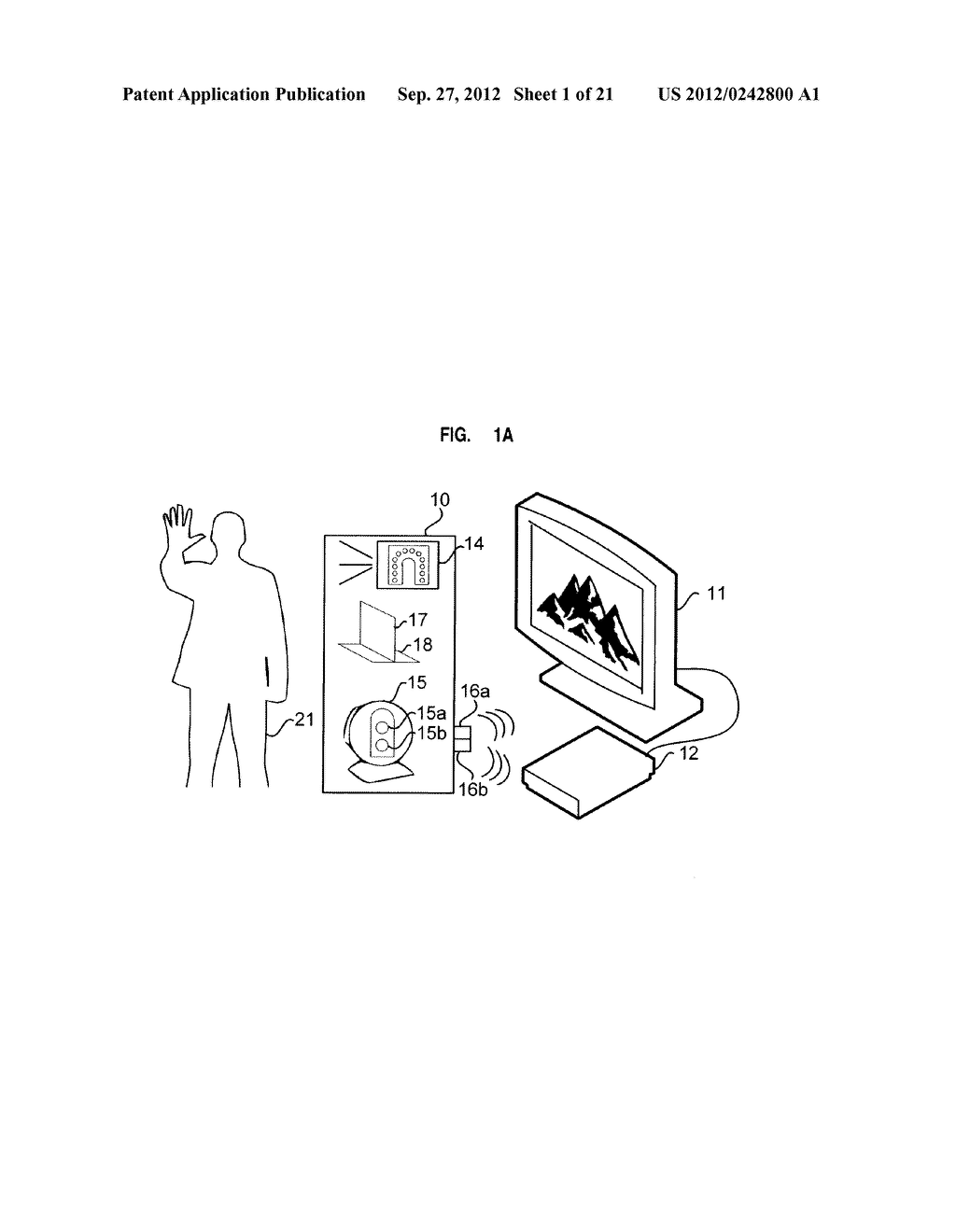 APPARATUS AND SYSTEM FOR INTERFACING WITH COMPUTERS AND OTHER ELECTRONIC     DEVICES THROUGH GESTURES BY USING DEPTH SENSING AND METHODS OF USE - diagram, schematic, and image 02