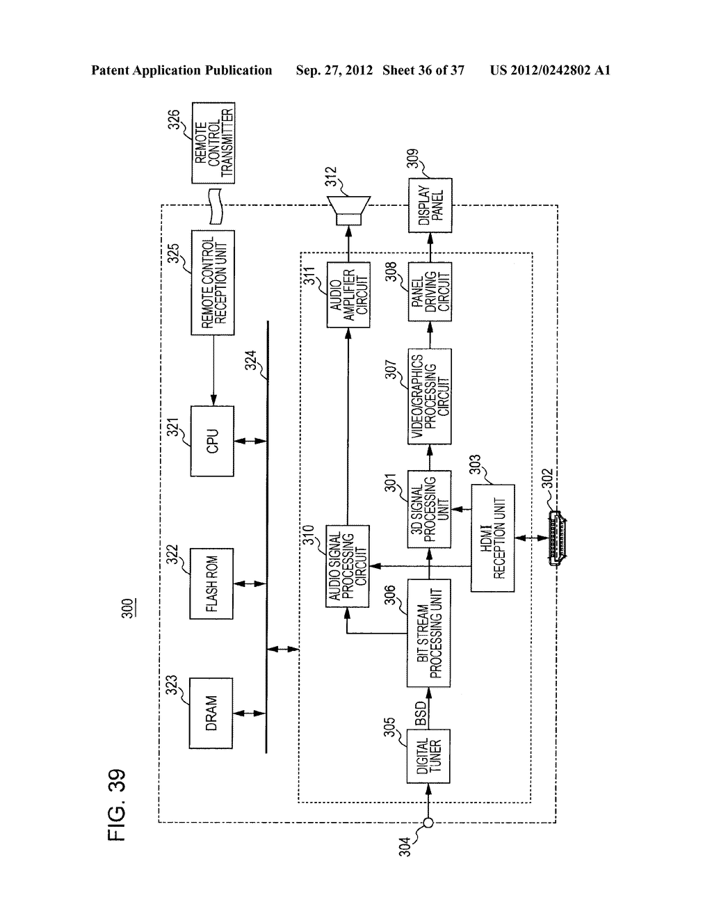 STEREOSCOPIC IMAGE DATA TRANSMISSION DEVICE, STEREOSCOPIC IMAGE DATA     TRANSMISSION METHOD, STEREOSCOPIC IMAGE DATA RECEPTION DEVICE, AND     STEREOSCOPIC IMAGE DATA RECEPTION METHOD - diagram, schematic, and image 37
