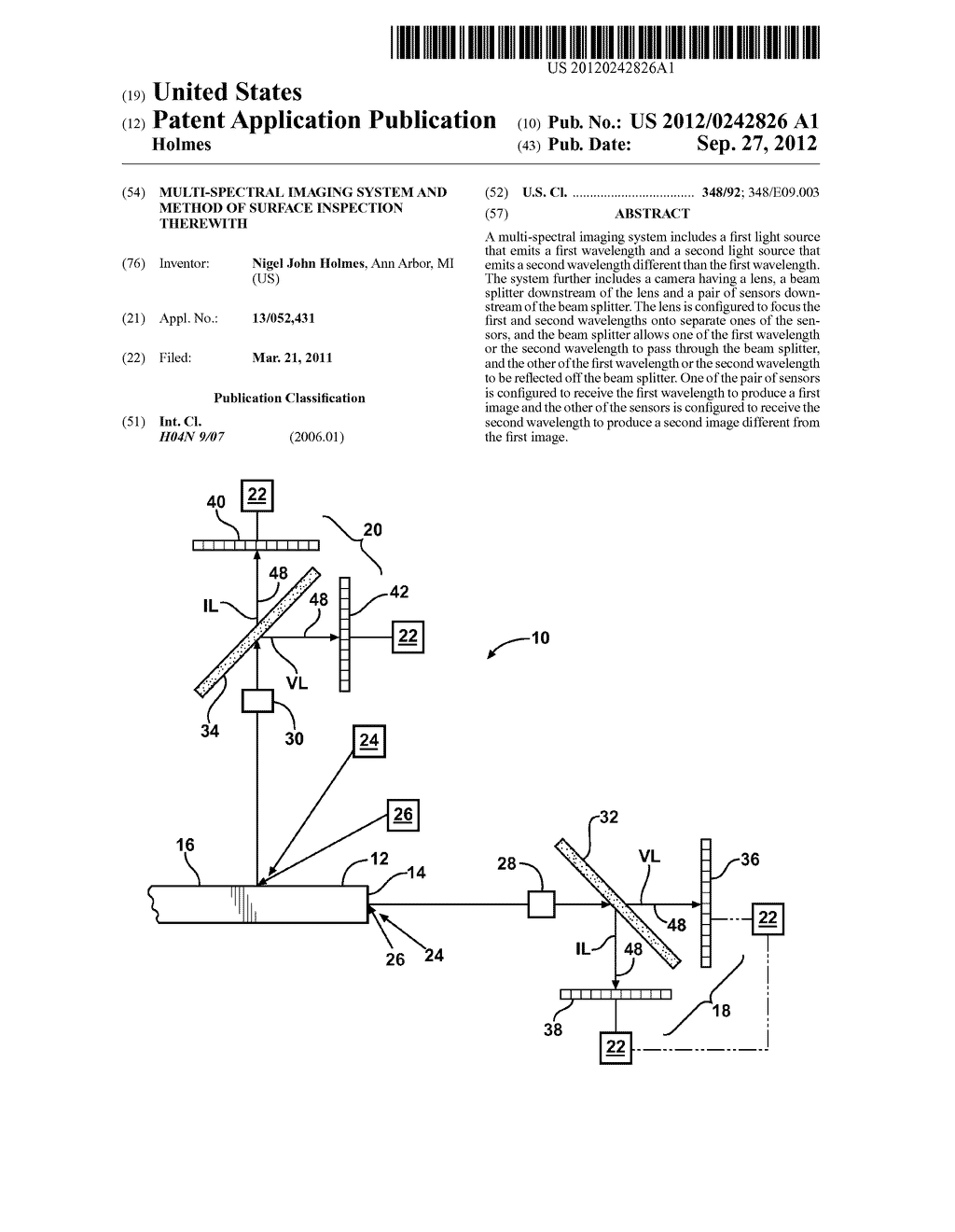 MULTI-SPECTRAL IMAGING SYSTEM AND METHOD OF SURFACE INSPECTION THEREWITH - diagram, schematic, and image 01
