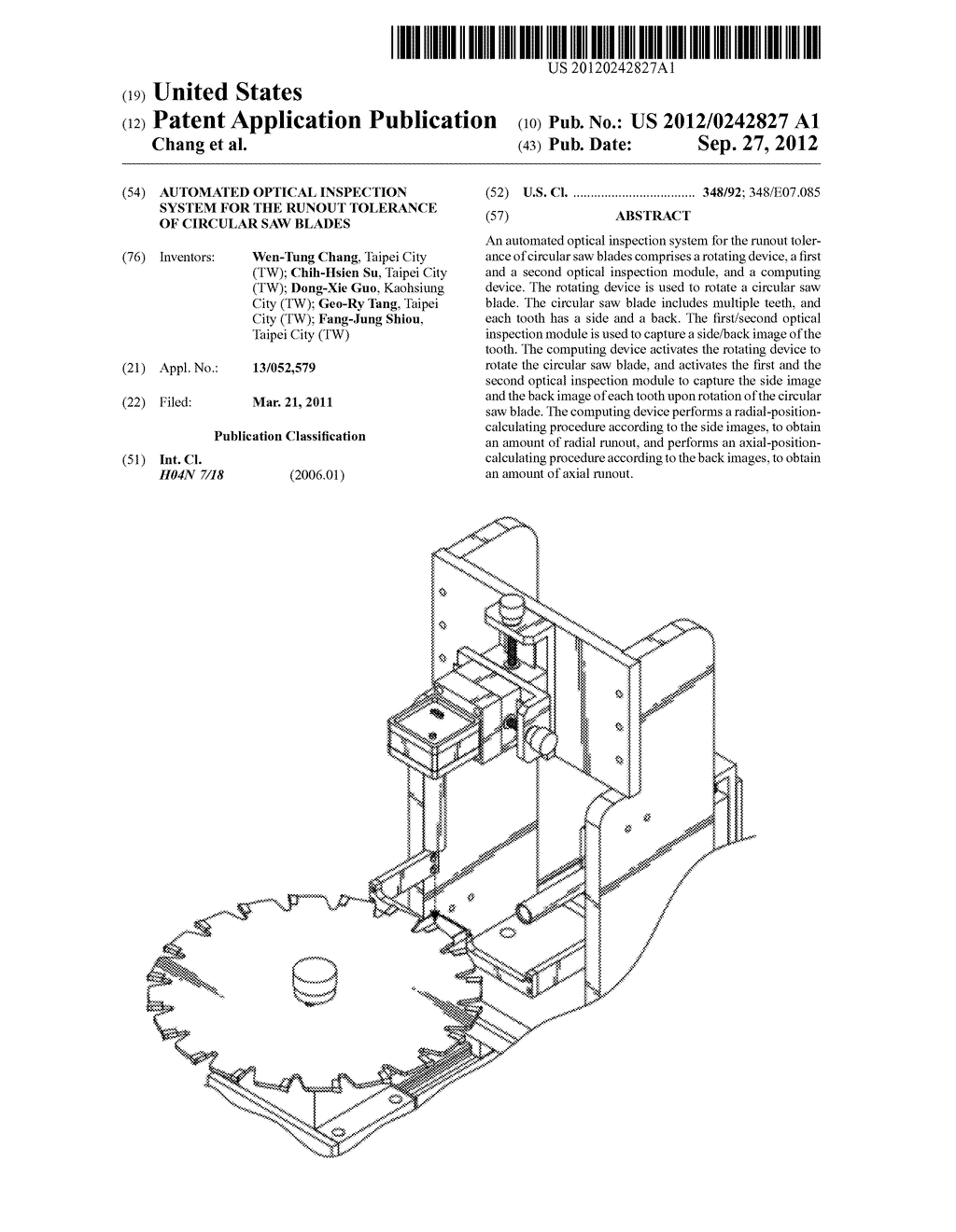 AUTOMATED OPTICAL INSPECTION SYSTEM FOR THE RUNOUT TOLERANCE OF CIRCULAR     SAW BLADES - diagram, schematic, and image 01