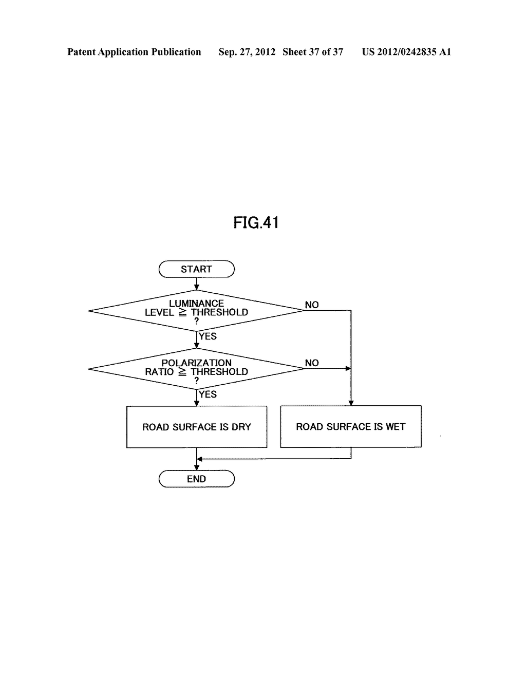 IMAGING DEVICE, ON-VEHICLE IMAGING SYSTEM, ROAD SURFACE APPEARANCE     DETECTION METHOD, AND OBJECT DETECTION DEVICE - diagram, schematic, and image 38