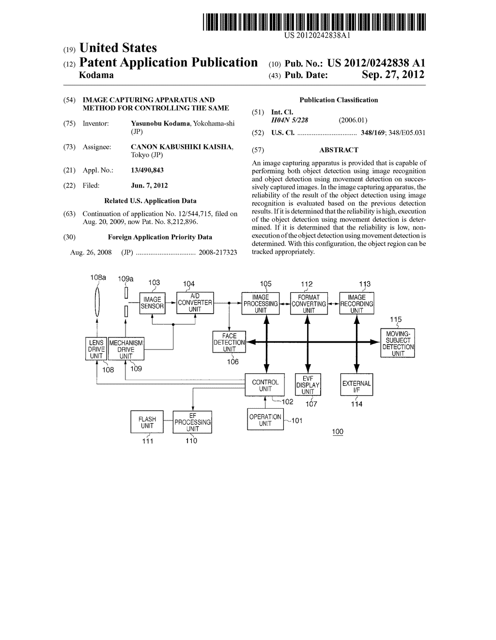 IMAGE CAPTURING APPARATUS AND METHOD FOR CONTROLLING THE SAME - diagram, schematic, and image 01