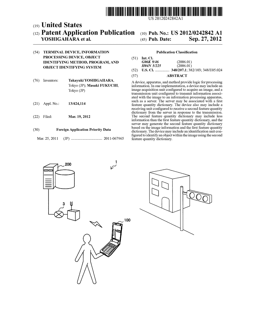 TERMINAL DEVICE, INFORMATION PROCESSING DEVICE, OBJECT IDENTIFYING METHOD,     PROGRAM, AND OBJECT IDENTIFYING SYSTEM - diagram, schematic, and image 01