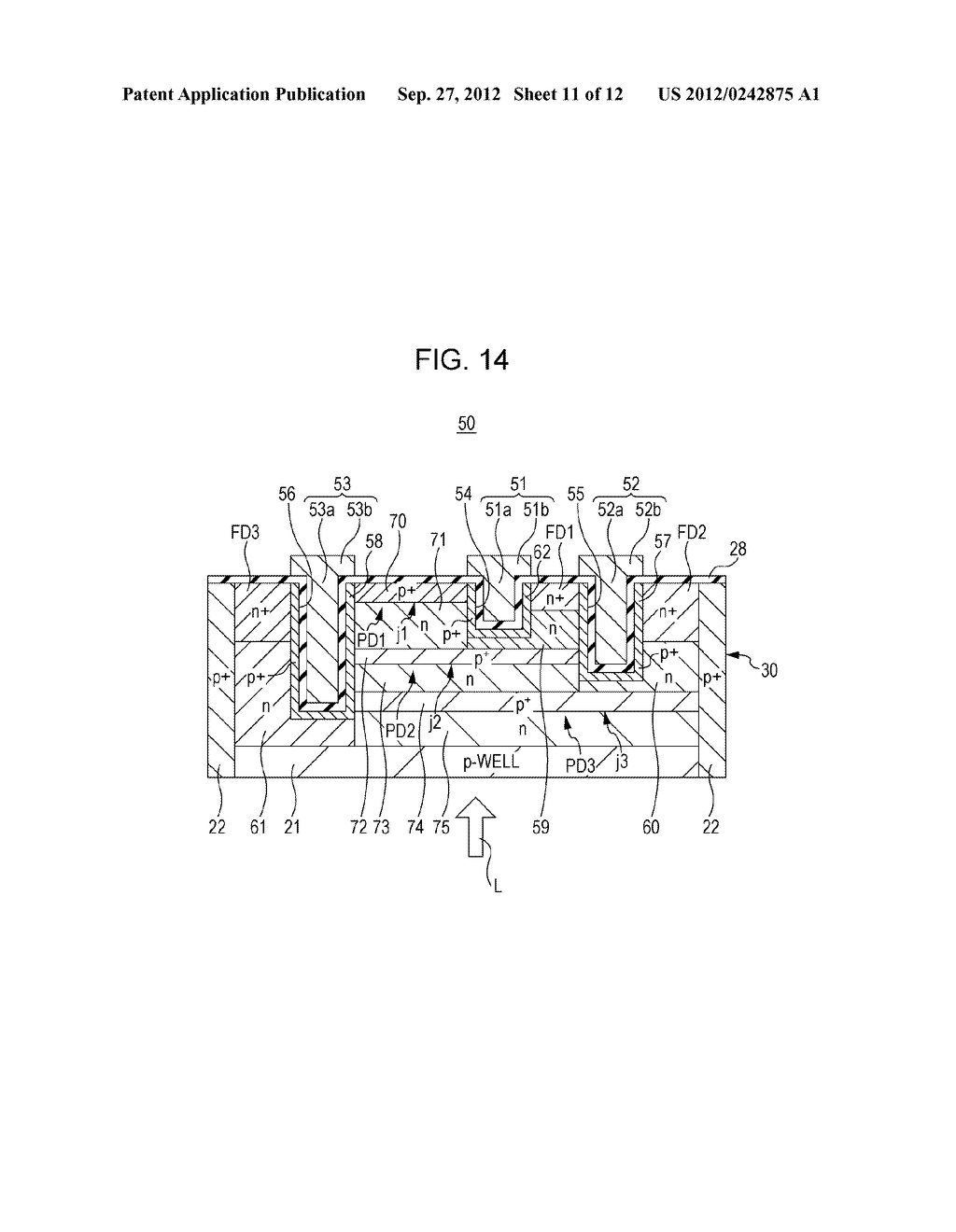 SOLID STATE IMAGING DEVICE, METHOD OF PRODUCING SOLID STATE IMAGING     DEVICE, AND ELECTRONIC APPARATUS - diagram, schematic, and image 12