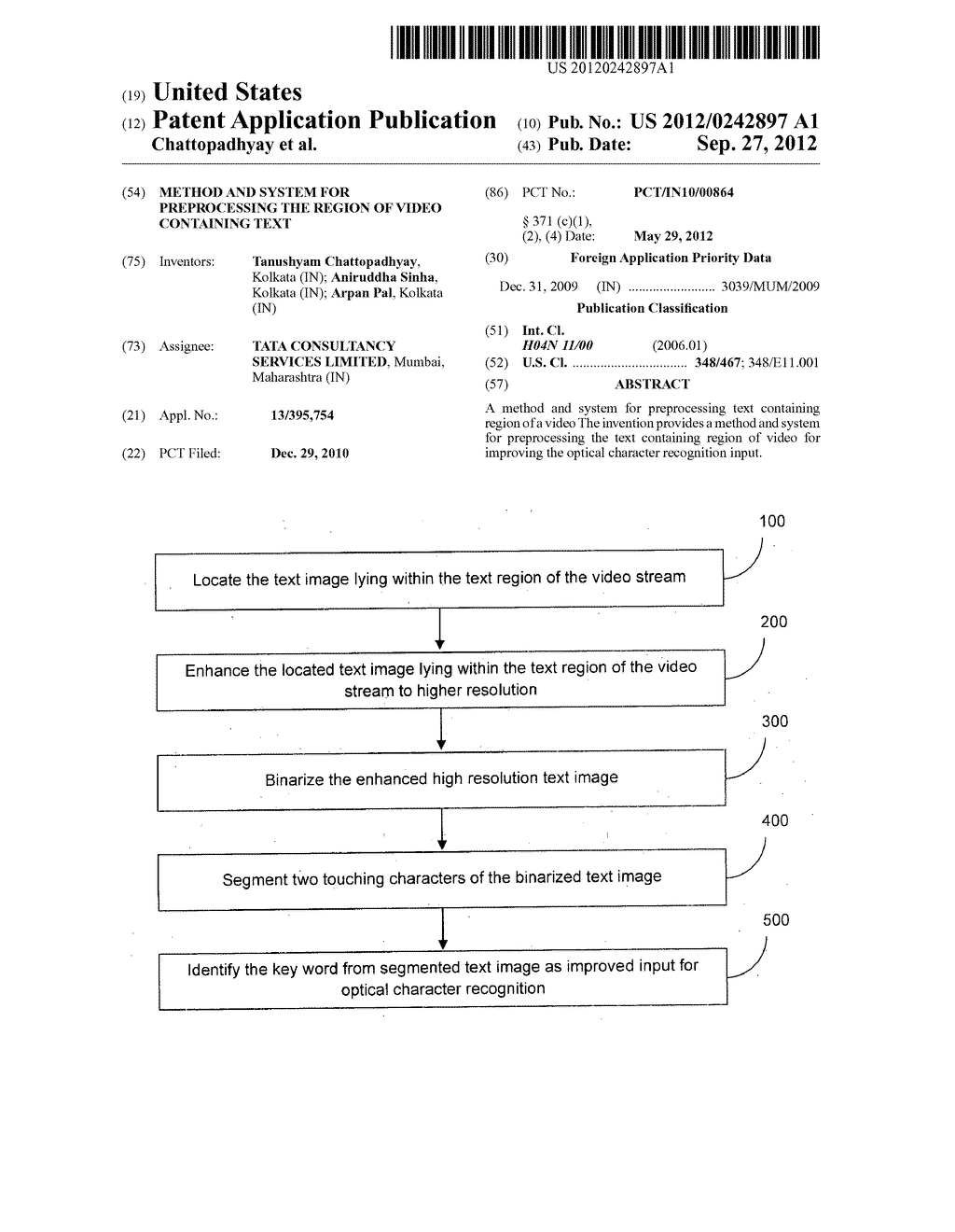 METHOD AND SYSTEM FOR PREPROCESSING THE REGION OF VIDEO CONTAINING TEXT - diagram, schematic, and image 01