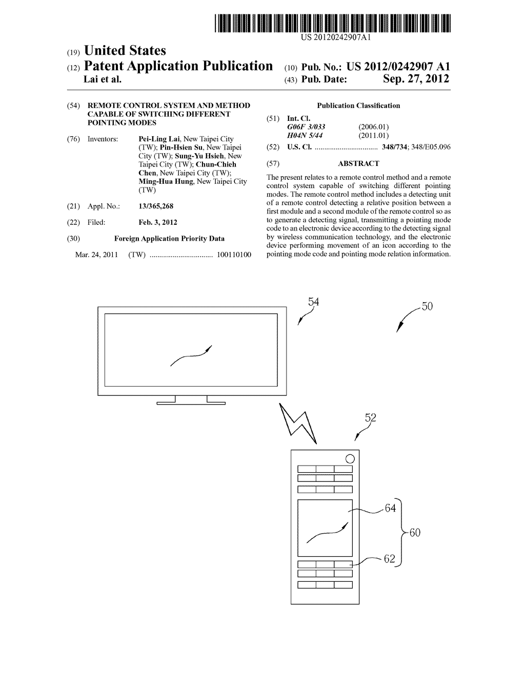 REMOTE CONTROL SYSTEM AND METHOD CAPABLE OF SWITCHING DIFFERENT POINTING     MODES - diagram, schematic, and image 01