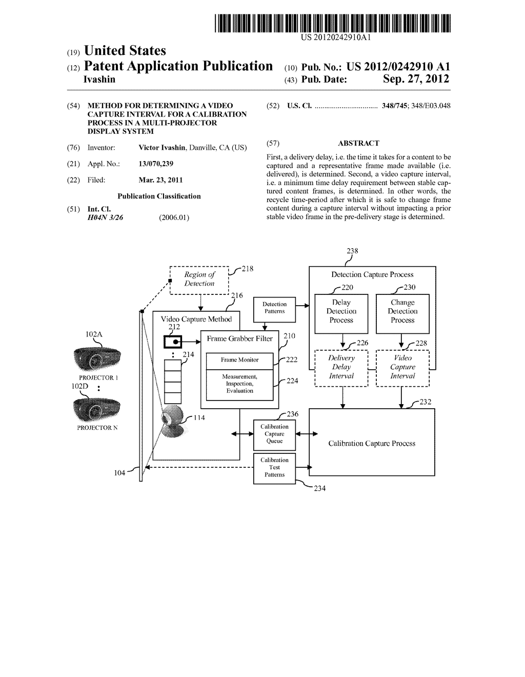 Method For Determining A Video Capture Interval For A Calibration Process     In A Multi-Projector Display System - diagram, schematic, and image 01