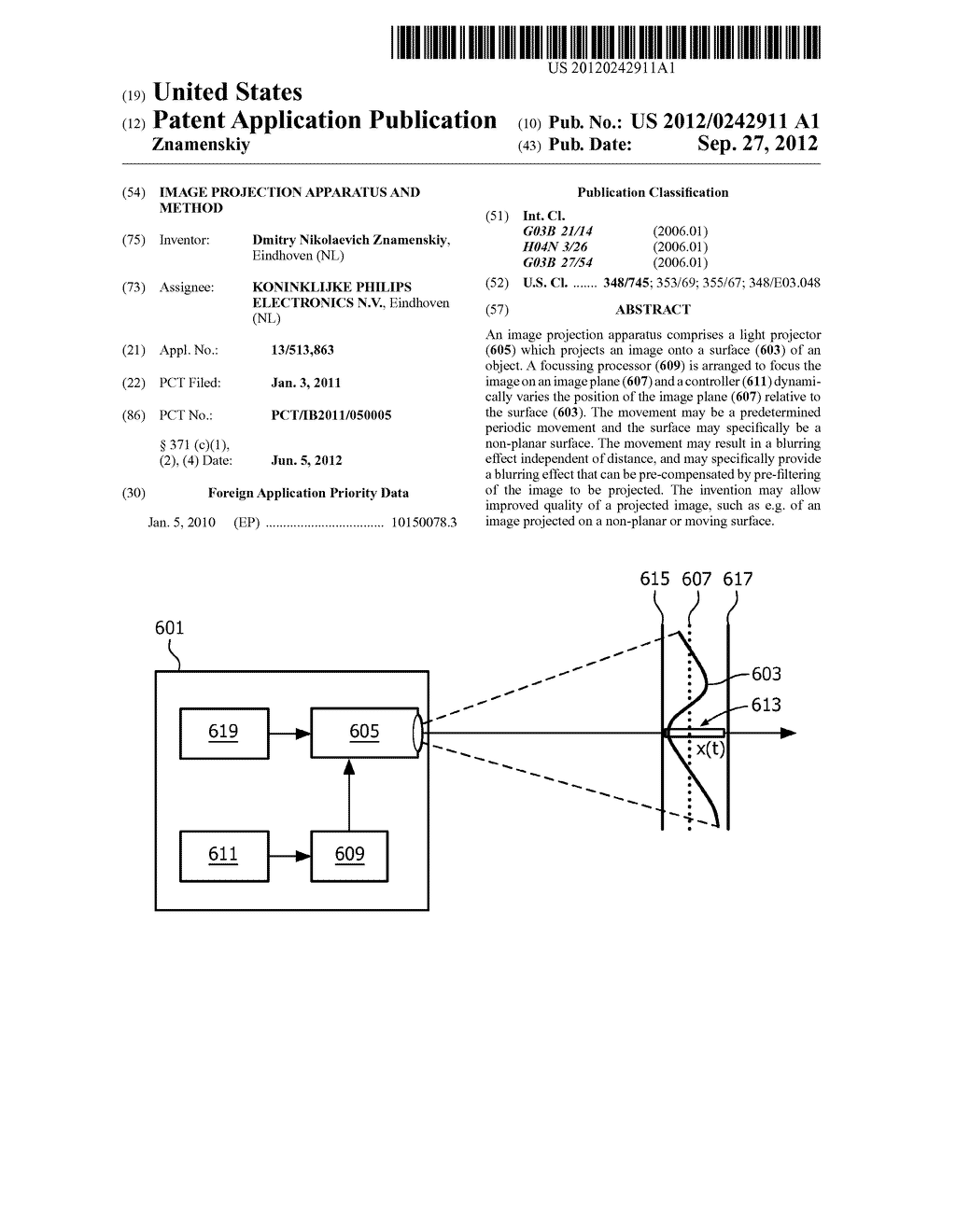 IMAGE PROJECTION APPARATUS AND METHOD - diagram, schematic, and image 01