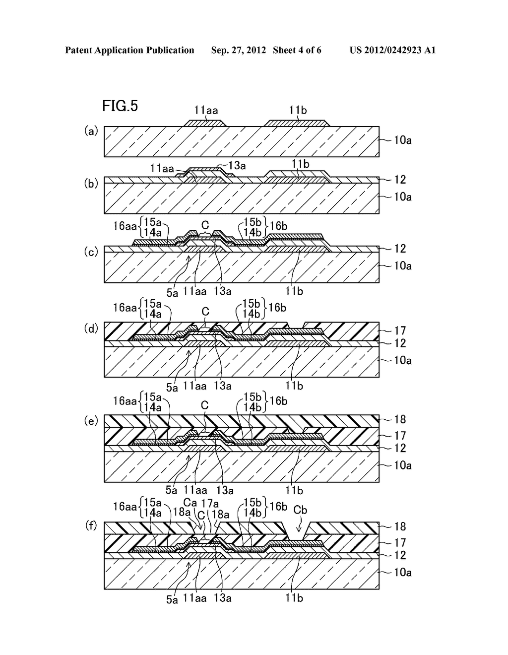 THIN FILM TRANSISTOR SUBSTRATE, METHOD FOR MANUFACTURING THE SAME, AND     DISPLAY DEVICE - diagram, schematic, and image 05