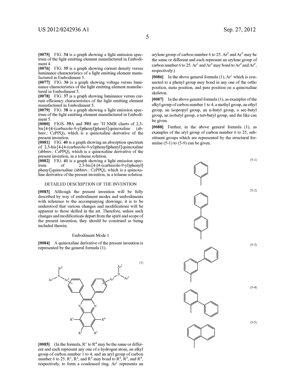 Quinoxaline Derivative, and Light Emitting Element, Light Emitting Device,     and Electronic Device Using the Quinoxaline Derivative - diagram, schematic, and image 41