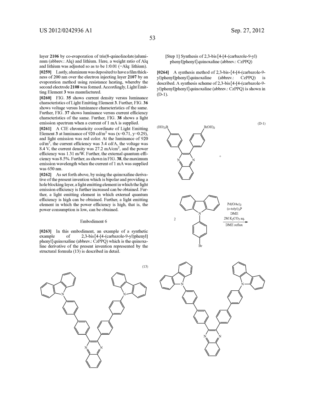 Quinoxaline Derivative, and Light Emitting Element, Light Emitting Device,     and Electronic Device Using the Quinoxaline Derivative - diagram, schematic, and image 89