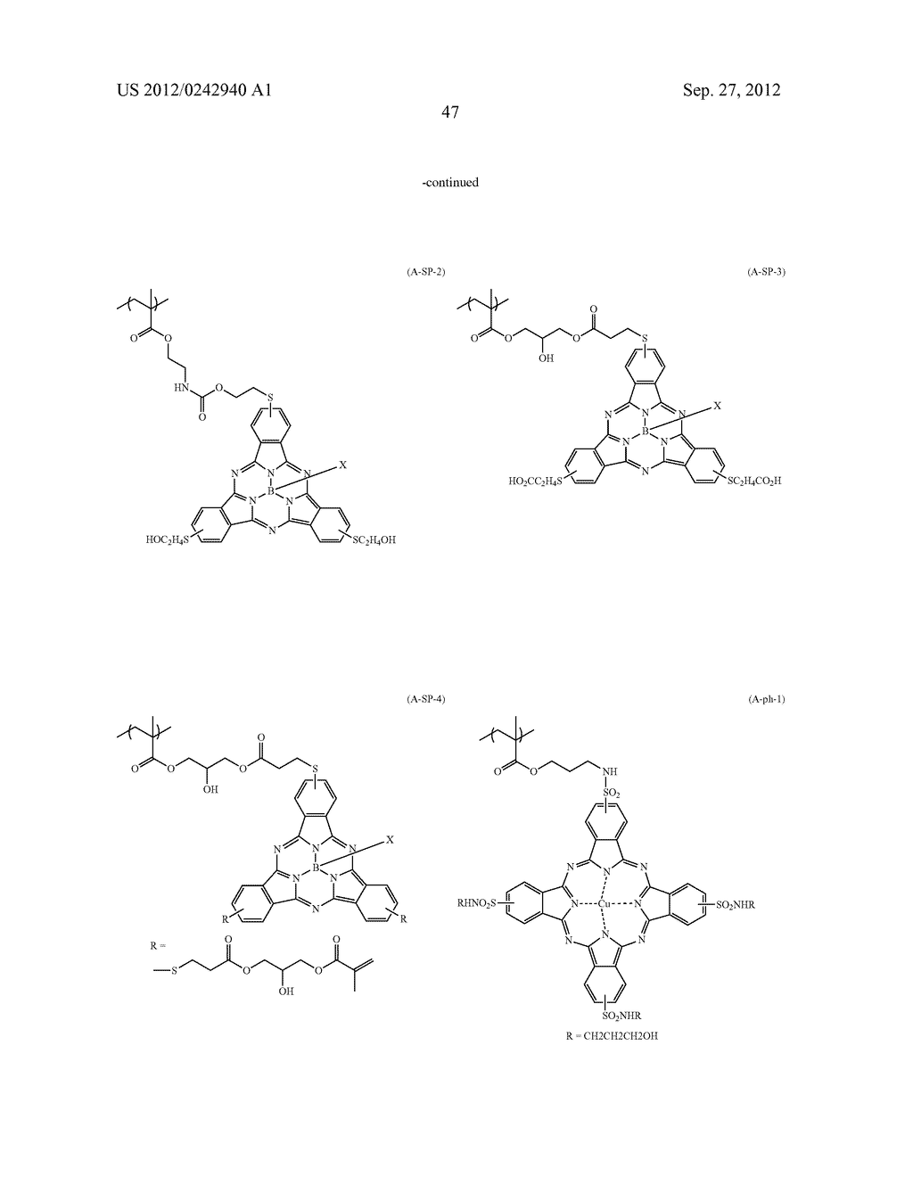 RADIATION-SENSITIVE COLORED COMPOSITION, COLOR FILTER, METHOD FOR     PRODUCING A COLOR PATTERN, METHOD FOR PRODUCING COLOR FILTER, SOLID-STATE     IMAGING DEVICE, AND LIQUID CRYSTAL DISPLAY APPARATUS - diagram, schematic, and image 48
