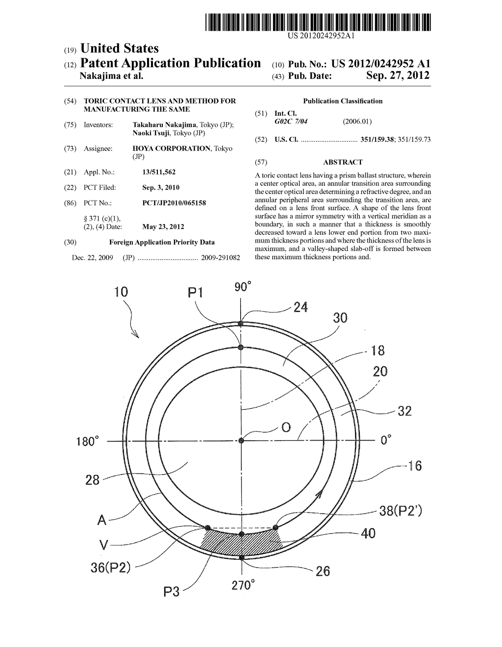 TORIC CONTACT LENS AND METHOD FOR MANUFACTURING THE SAME - diagram, schematic, and image 01