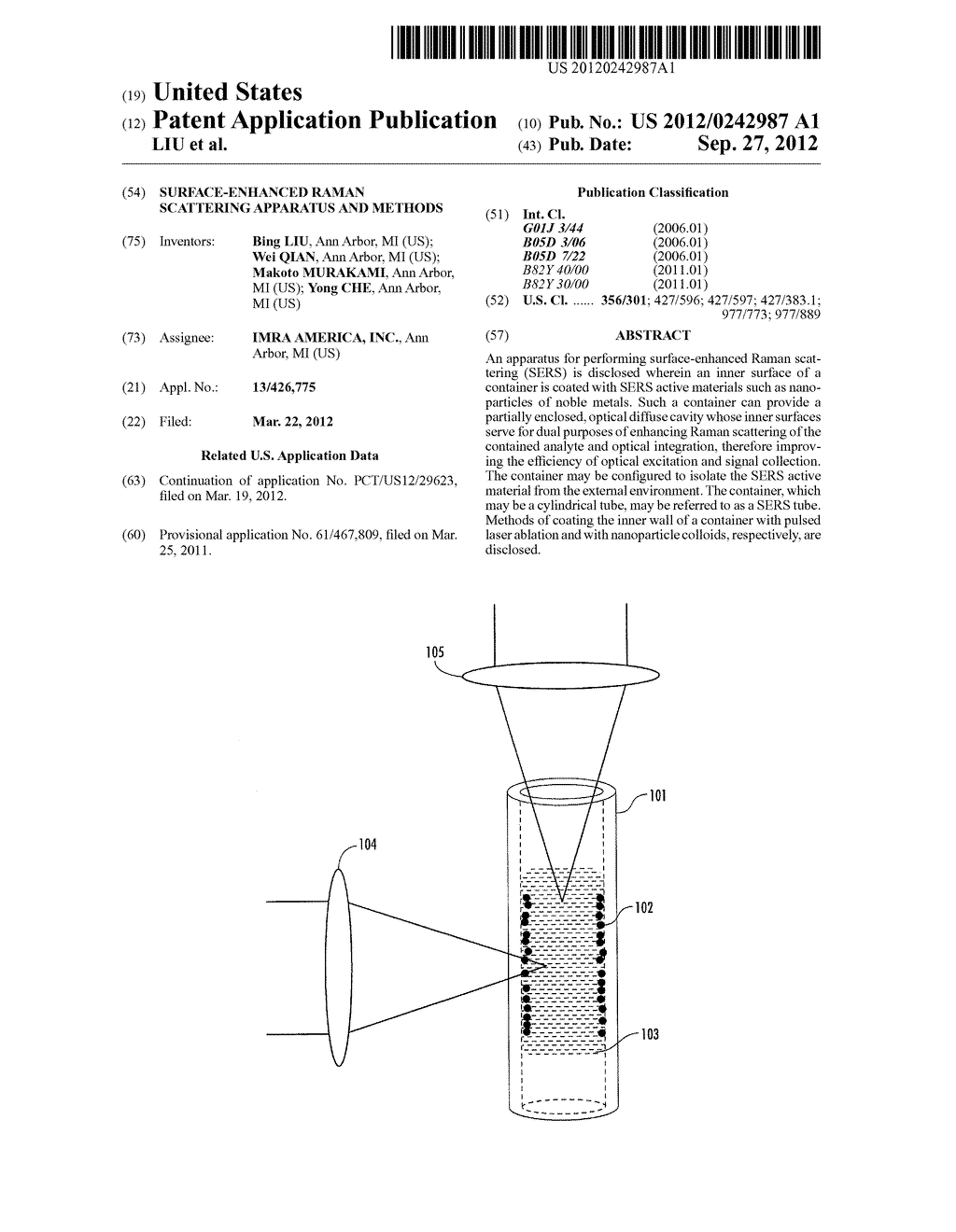 SURFACE-ENHANCED RAMAN SCATTERING APPARATUS AND METHODS - diagram, schematic, and image 01