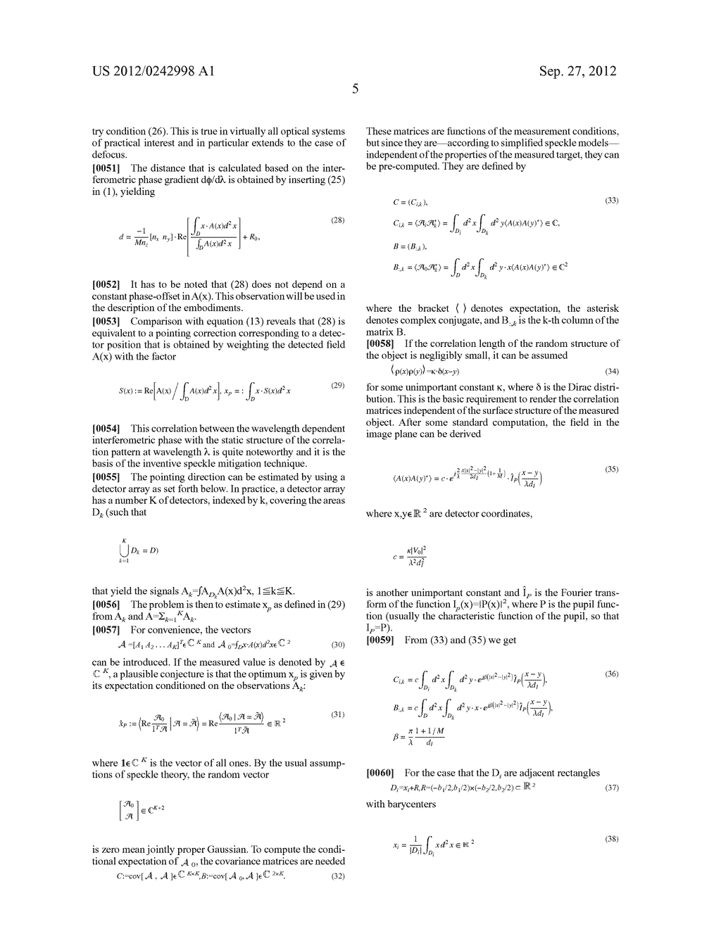 METHOD FOR SPECKLE MITIGATION IN AN INTERFEROMETRIC DISTANCE METER AND     CORRESPONDING DISTANCE METER - diagram, schematic, and image 10