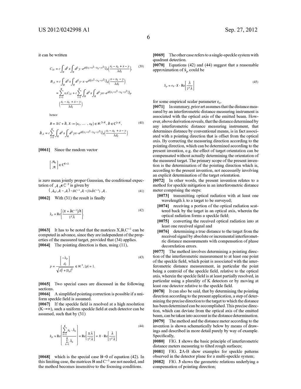 METHOD FOR SPECKLE MITIGATION IN AN INTERFEROMETRIC DISTANCE METER AND     CORRESPONDING DISTANCE METER - diagram, schematic, and image 11
