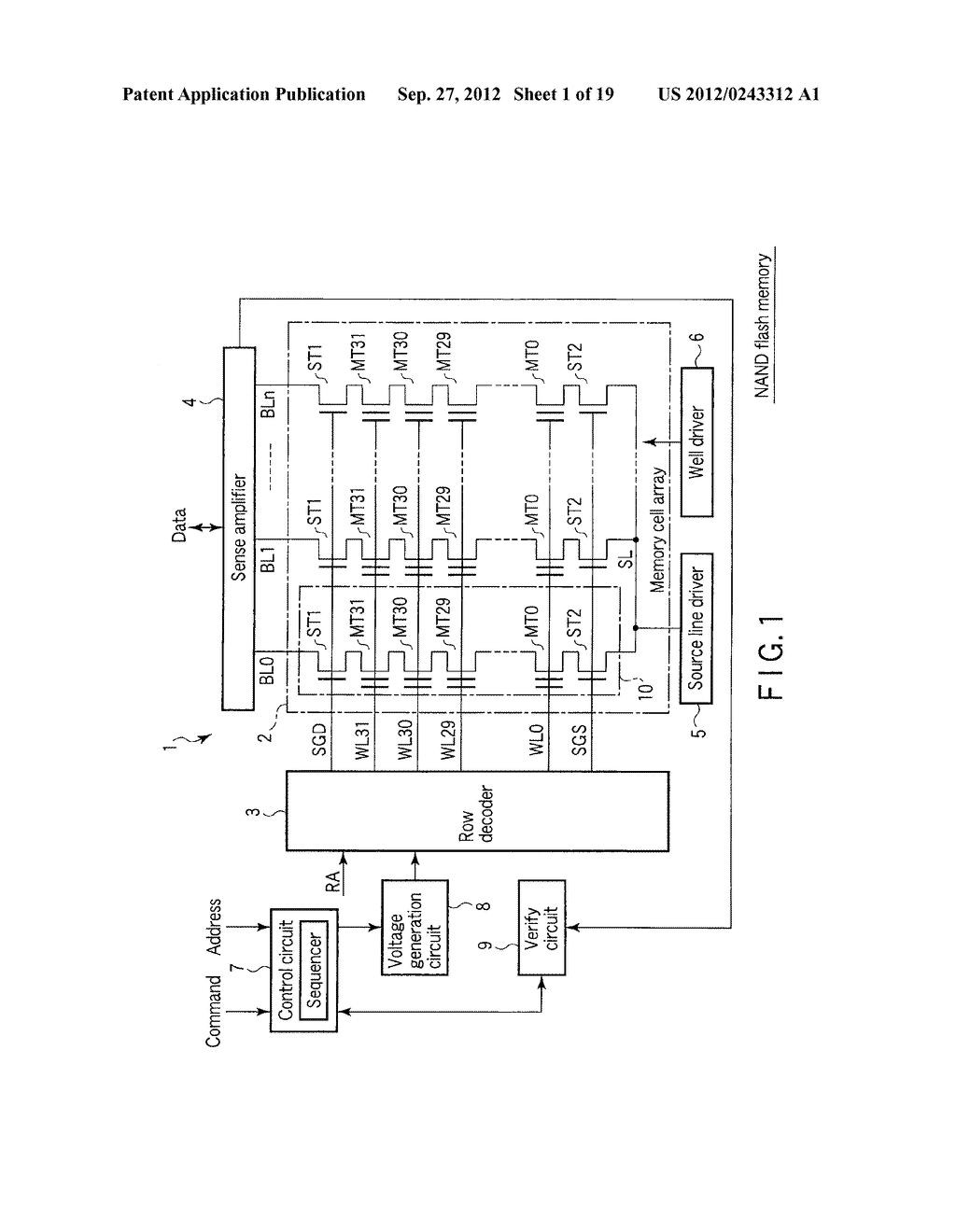 SEMICONDUCTOR MEMORY DEVICE COMPRISING MEMORY CELL HAVING CHARGE     ACCUMULATION LAYER AND CONTROL GATE AND METHOD OF ERASING DATA THEREOF - diagram, schematic, and image 02