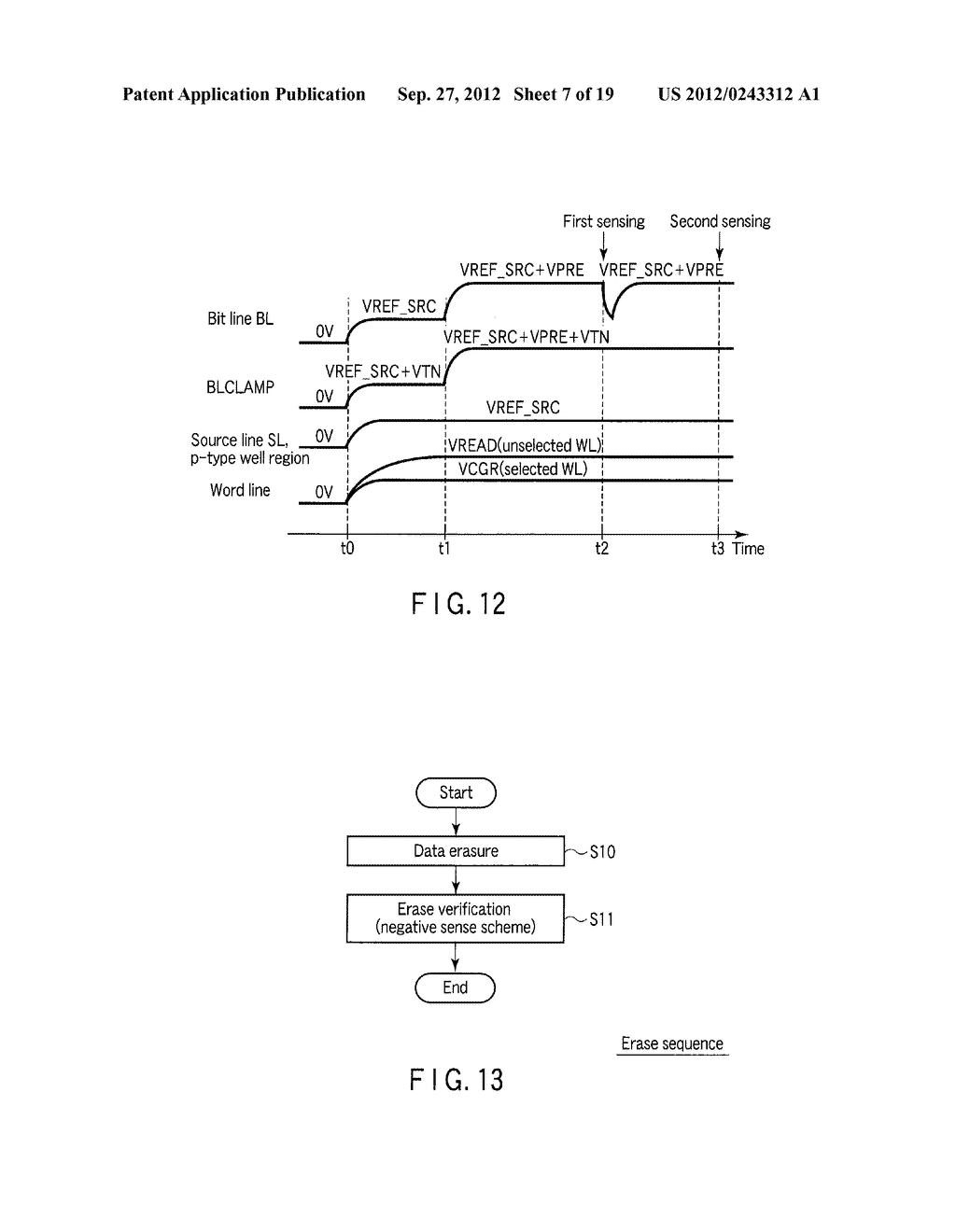 SEMICONDUCTOR MEMORY DEVICE COMPRISING MEMORY CELL HAVING CHARGE     ACCUMULATION LAYER AND CONTROL GATE AND METHOD OF ERASING DATA THEREOF - diagram, schematic, and image 08