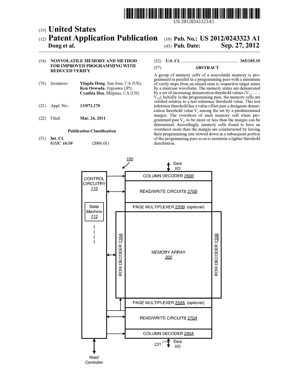 Nonvolatile Memory and Method for Improved Programming With Reduced Verify - diagram, schematic, and image 01