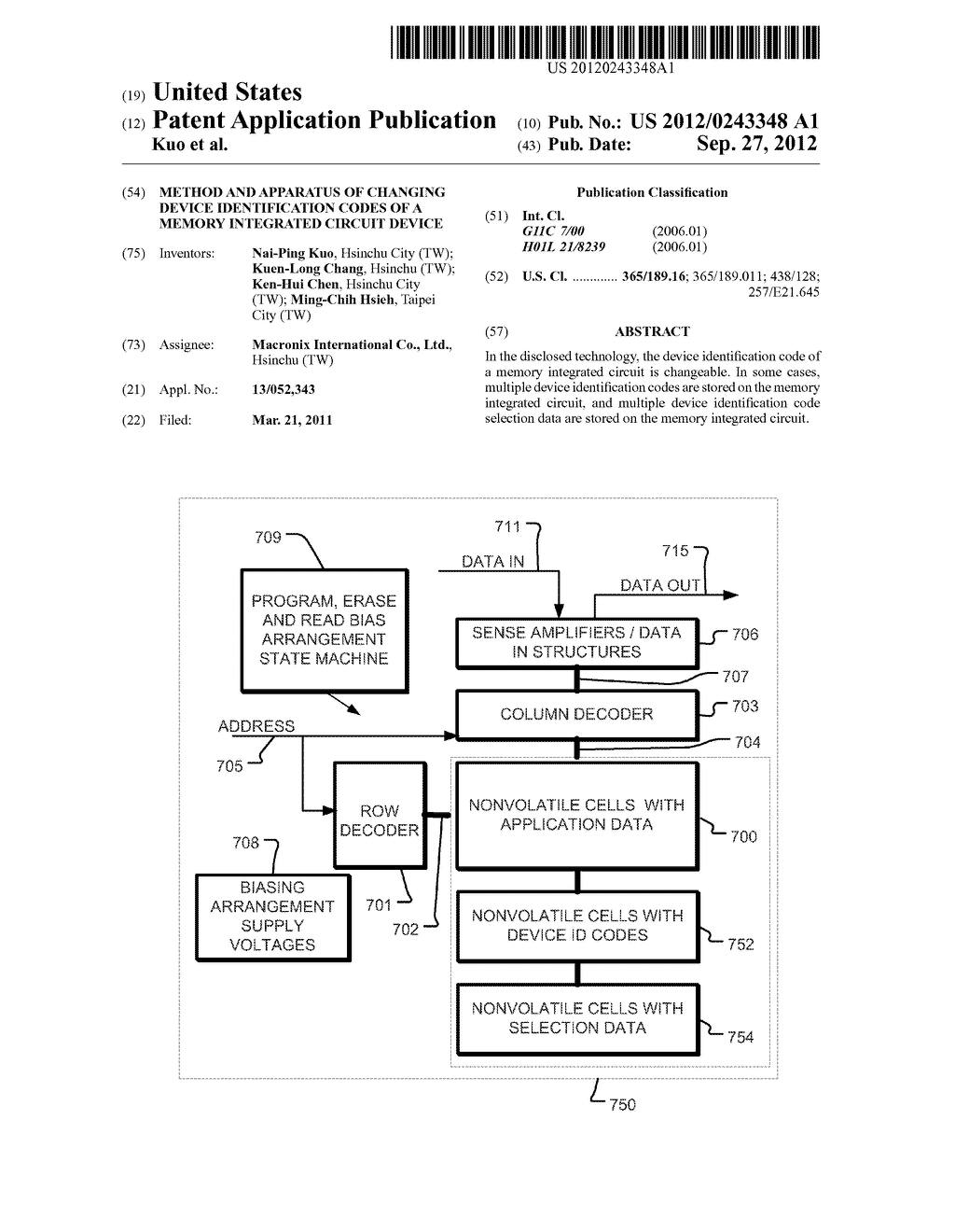 Method and Apparatus of Changing Device Identification Codes of a Memory     Integrated Circuit Device - diagram, schematic, and image 01